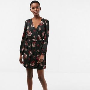 Express Floral Long Sleeve Satin Wrap Dress